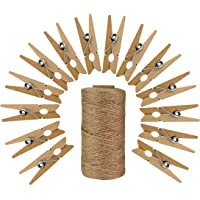 50pcs Wood Clothes Pins with 320 Feet Natural Jute Twine, Jmkcoz 3.5cm Mini Pins for Clothes Pictures Strings Clothes Pins Art Craft Photo Picture Hanging Clips Clothespins