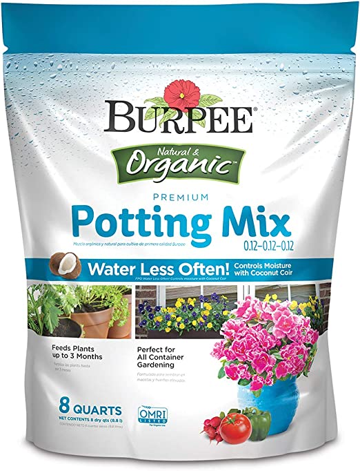 Burpee Organic Premium Growing Mix, 8 Quart - Coconut Coir
