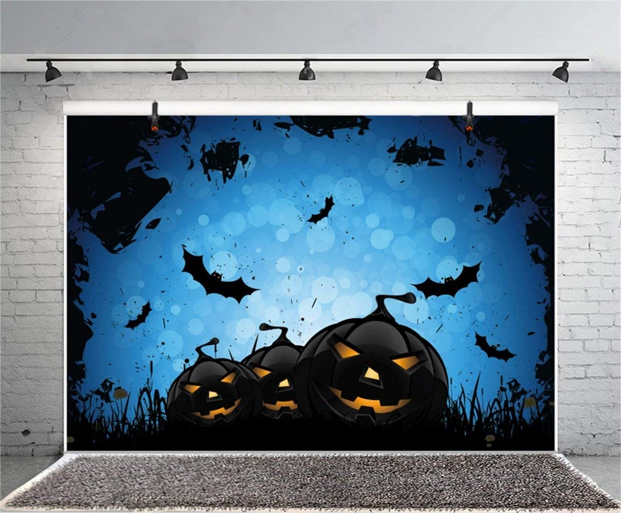 Halloween Theme Backdrop 10x6.5ft Polyester Photography Background Ghastly Wilderness Grinning Elvish Pumpink Lamps Haunted Cemetery Flying Bats Horror Night Trick or Treat Kids Baby Shoot