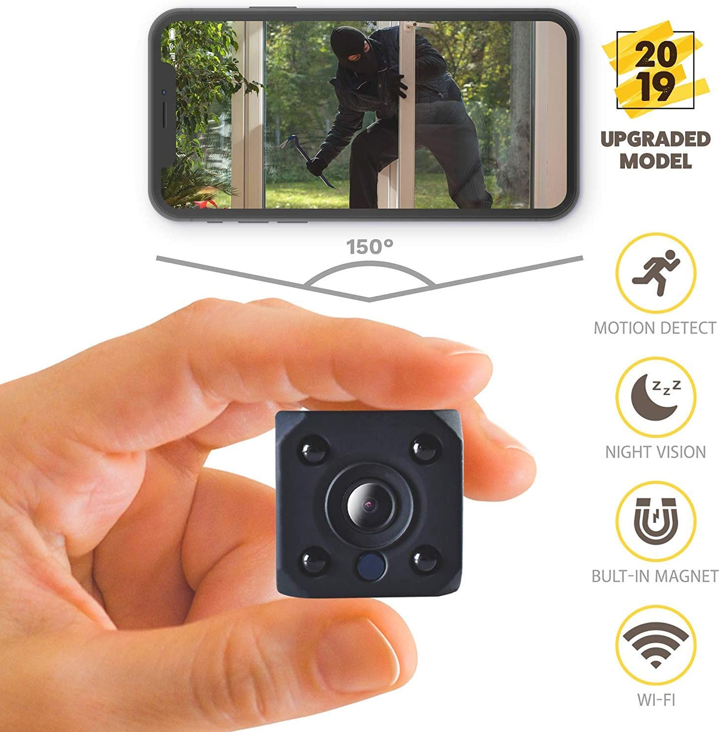Amazon Com 2019 New Hd 1080p Mini Spy Camera Wireless Hidden Camera Small Wifi Home Security Cameras Night Vision Ip Nanny Cam Indoors Office Car Video Recorder Motion Activated Monitoring Recording