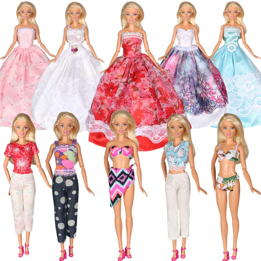 Tanosy 10 Items Barbie Dresses 5 PCS Fashion Wedding Party Gown Dresses 3 Sets Clothes and 2 Sets Bikini Swimsuits for Barbie Doll Girl Gift (5 PCS Dresses, 3 Sets Clothes and 2 Sets Swimsuits)