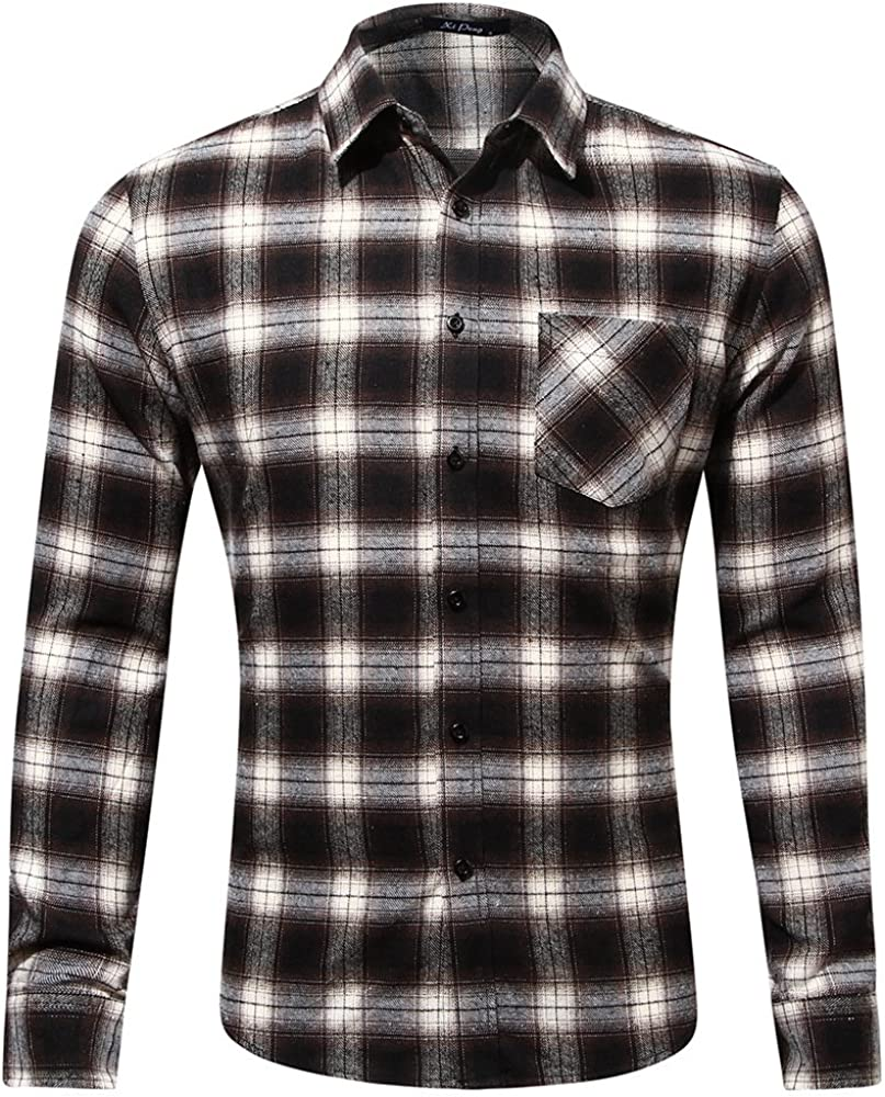 Whj Mens Classic Casual Flannel Plaid Long-Sleeved Shirt Warm Loose Working Shirt,brownwhiteXXL Button