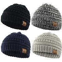 Century Star Baby Knit Hats Soft Warm Infant Toddler Beanie Cute Babies Hat Boys and Girls 4 Pack Black&Light Grey&Navy&Dark Grey
