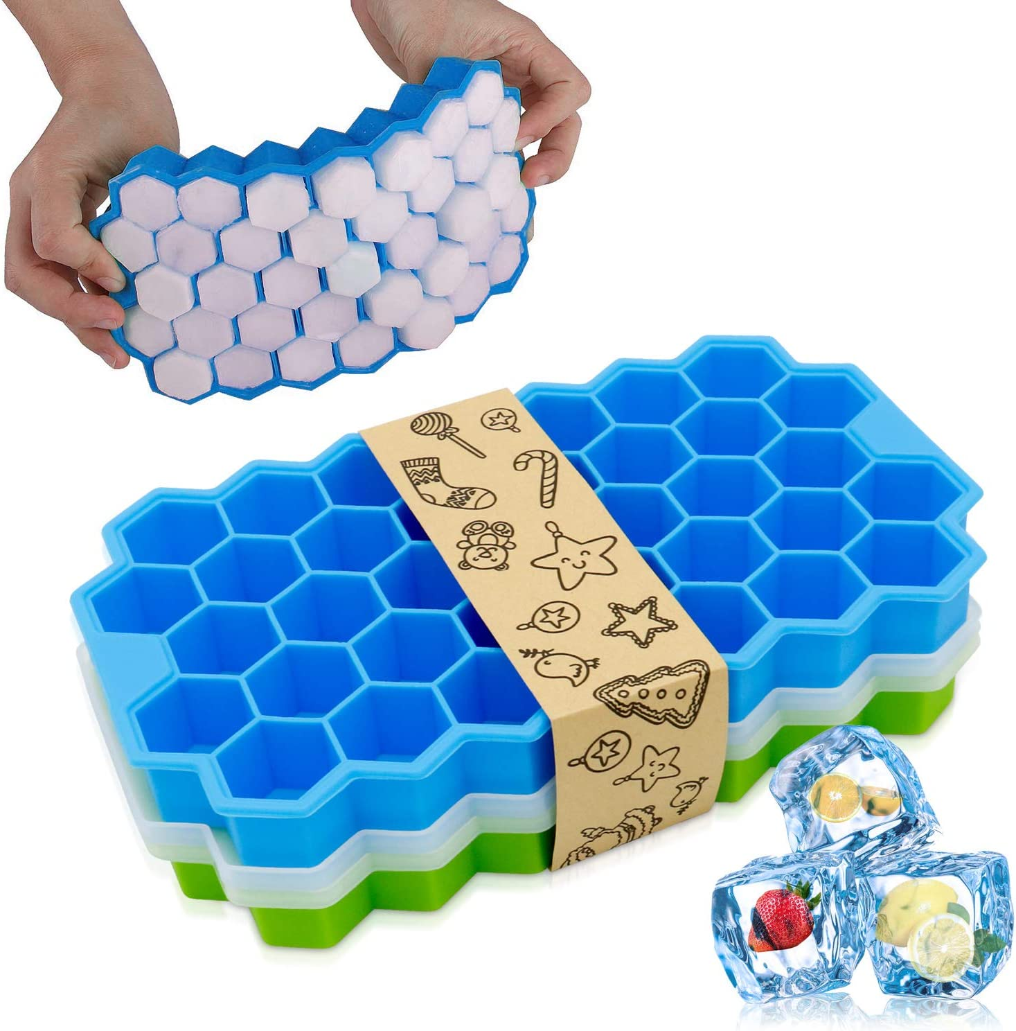 Cyan Blue Stackable /& Flexible BPA Free Nuovoware 2 Pack Ice Cube Trays Totally 76-Ice Pop Molds Easy-Release Silicone Ice Pop Makers with Spill-Resistant Removable Lid Kitchen Gadget
