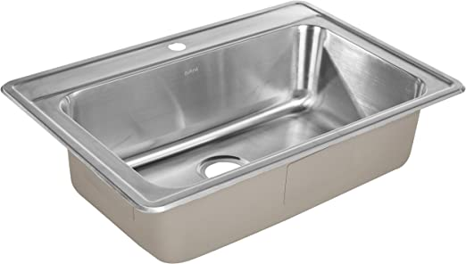 Zuhne Drop In Top Mount Or Over Mount One Deck Hole Single And Double Bowl Stainless Steel Kitchen Sink 33x22 Single