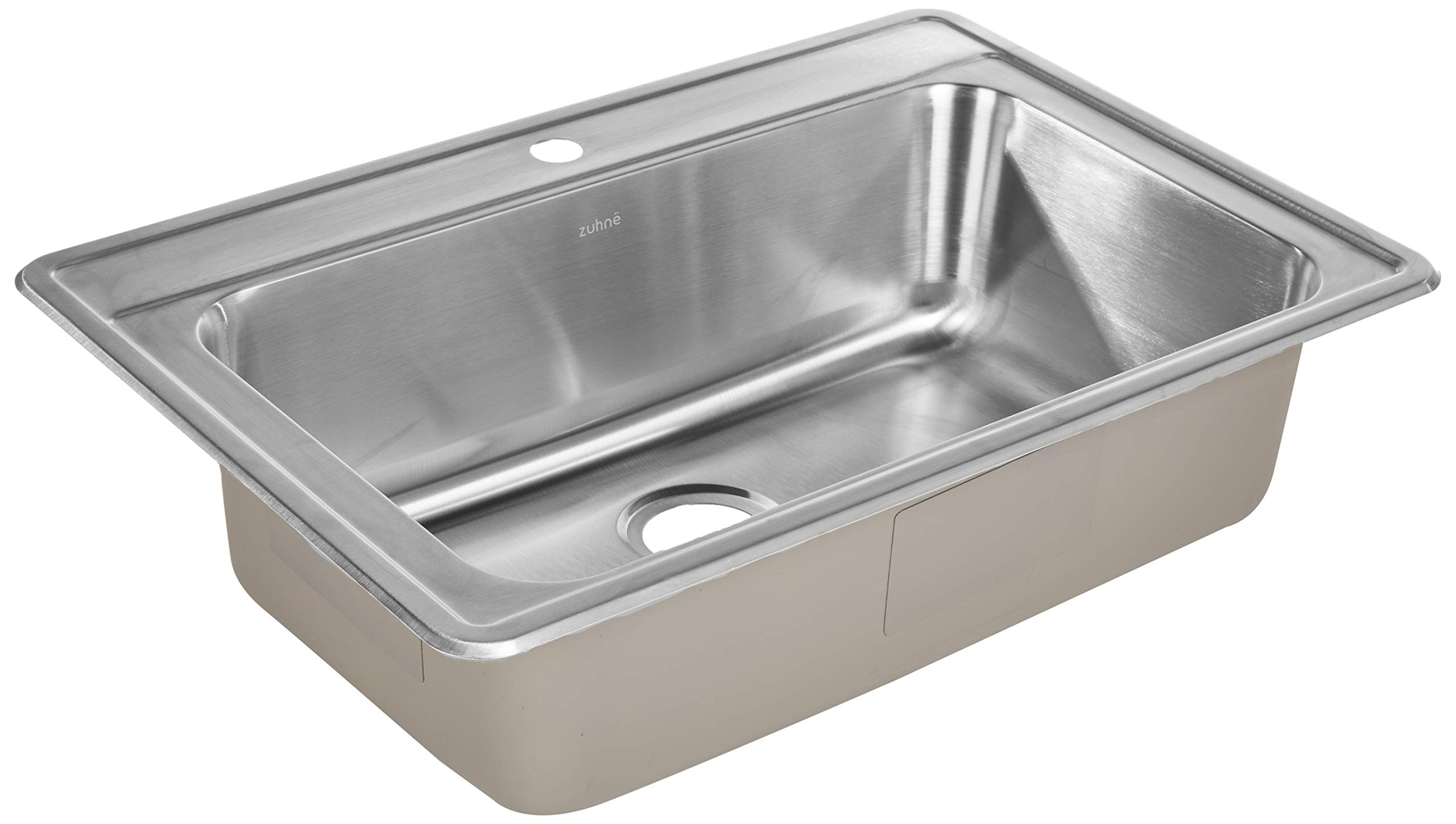 ZUHNE Drop-In Top Mount or Over Mount One Deck Hole Single and Double Bowl Stainless Steel Kitchen Sink (33x22 Single) by Zuhne