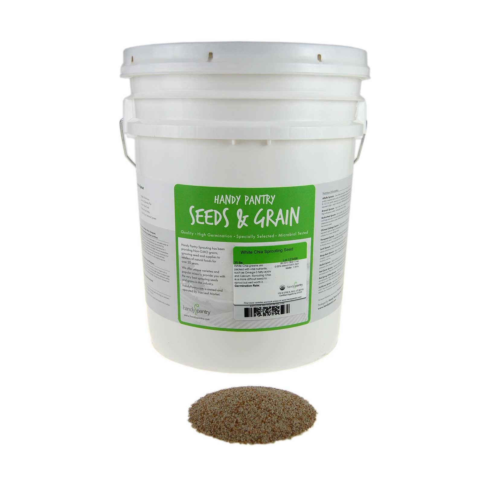 Handy Pantry Organic White Chia Seeds- 35 Lbs- Sprouting Seeds For Growing Sprouts, Chia Pet Refills, Food Storage, Sprout Salad