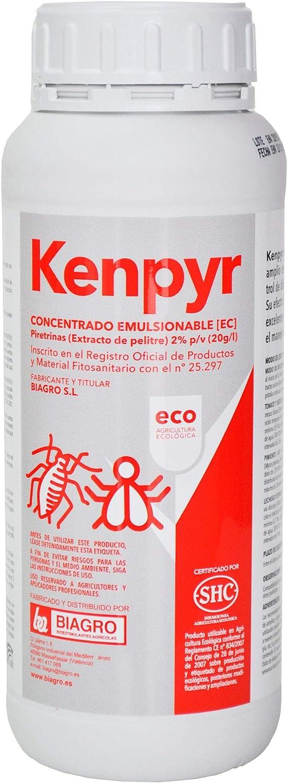 CULTIVERS Kenphyr, Piretrinas Naturales insecticida ecológico de 1 L. Apto para el Control de la Mosca Blanca, Trips, pulgones, cochinillas, orugas, escarabajos y Otros Tipos de Insectos y ácaros