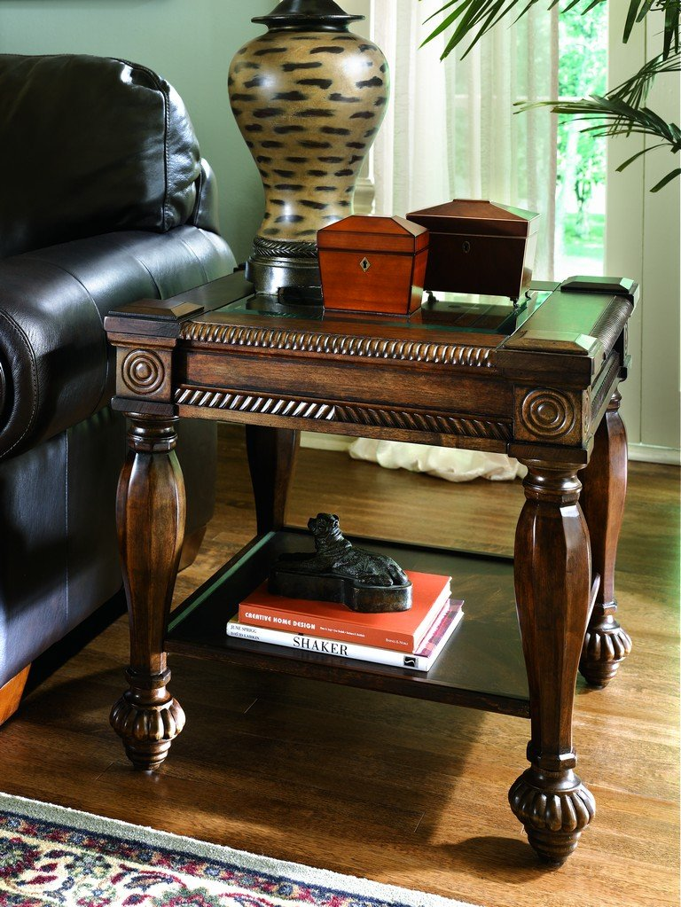 Amazon.com: Ashley Furniture Signature Design   Mantera Sofa Table    Entertainment Console Table   Rustic Style   Rectangular   Dark Brown With  Beveled ...