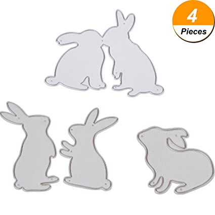 amazon com hicarer 4 pieces bunny cutting dies metal stencil