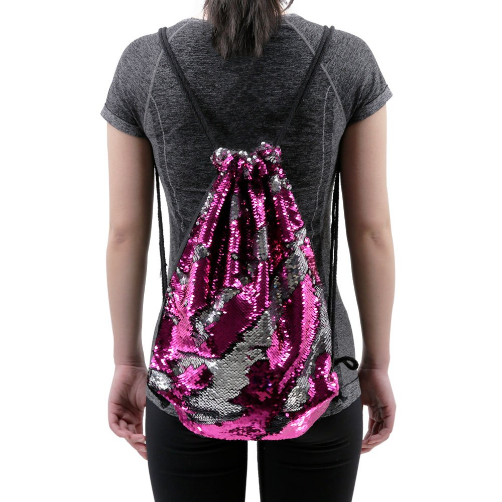 Mermaid Drawstring Bag Magic Reversible Sequin Backpack Glittering Dance School Bag for Yoga Outdoors Sports,Mothers' Day Gift for Girls Women Kids(Rose/silvery) by Segorts (Image #6)