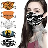 E-SCENERY 5PC Women Man Cotton Halloween Face Covering Washable Reusable Bandana Madks for Cycling Camping Travel