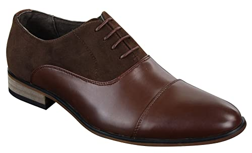 a5b2f646e0 Mens Italian Leather & Suede Laced Smart Casual Brown Navy Black Designer  Shoes: Amazon.co.uk: Shoes & Bags