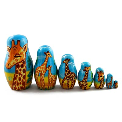 Matryoshka Babushka Russian Nesting Wooden Stacking Doll Giraffes in Africa 7 Pcs: Toys & Games