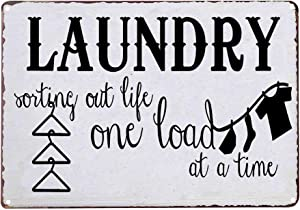 PXIYOU Laundry Sorting Out Life One Load at a Time Vintage Metal Sign Home Bathroom Laundry Room Wash Room Signs Country Home Decor 8X12Inch