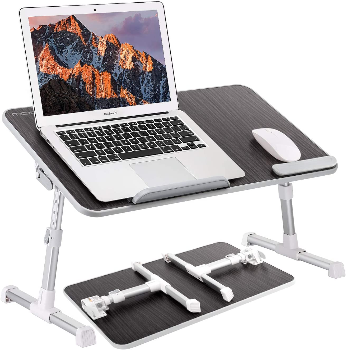 AboveTEK Portable Laptop Desk Black Walnut Foldable Tray Table for Reading Writing Watching Videos on Bed Couch Sofa Floor Height Adjustable Notebook Computer Stand