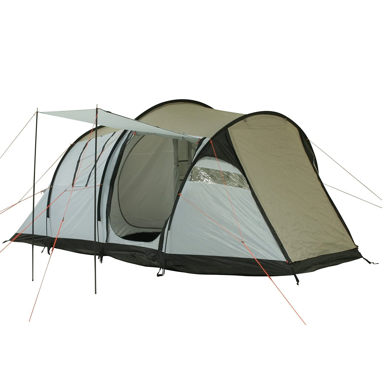 10T Camping-Zelt Wilton 4 Tunnelzelt mit Schlafkabine für 4 Personen Outdoor Familienzelt mit Wohnraum, eingenähte Bodenwanne, Sonnendach Aufstellstangen, wasserdicht mit 5000mm Wassersäule