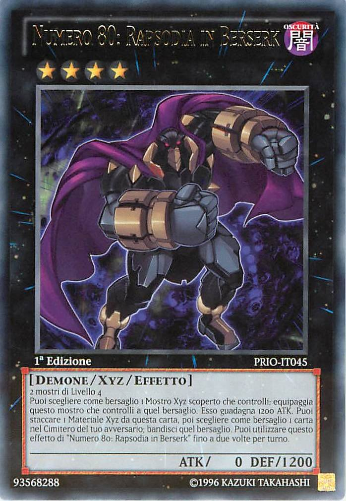 Yu-Gi-Oh! PRIO-IT045 Origine Primordiale Rara Numero 80: Rapsodia In Berserk Unlimited Edition