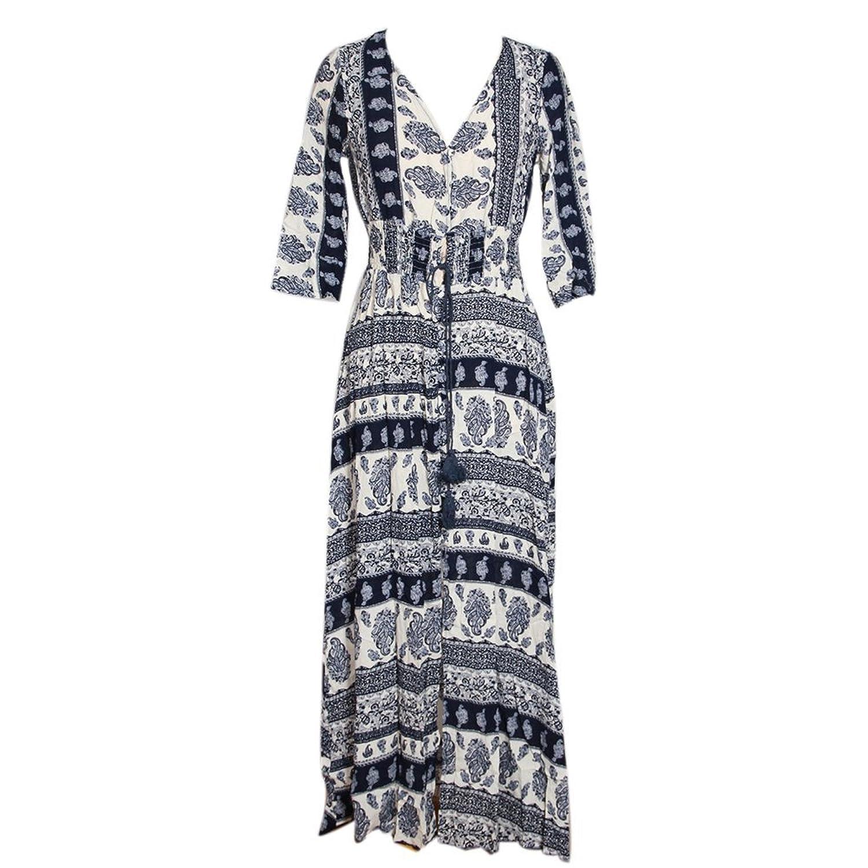 ipretty Damen Kleid Porzellan Druck mit V-Ausschnitt Sexy Lange Sommerkleid Blau/Weiß Blumen