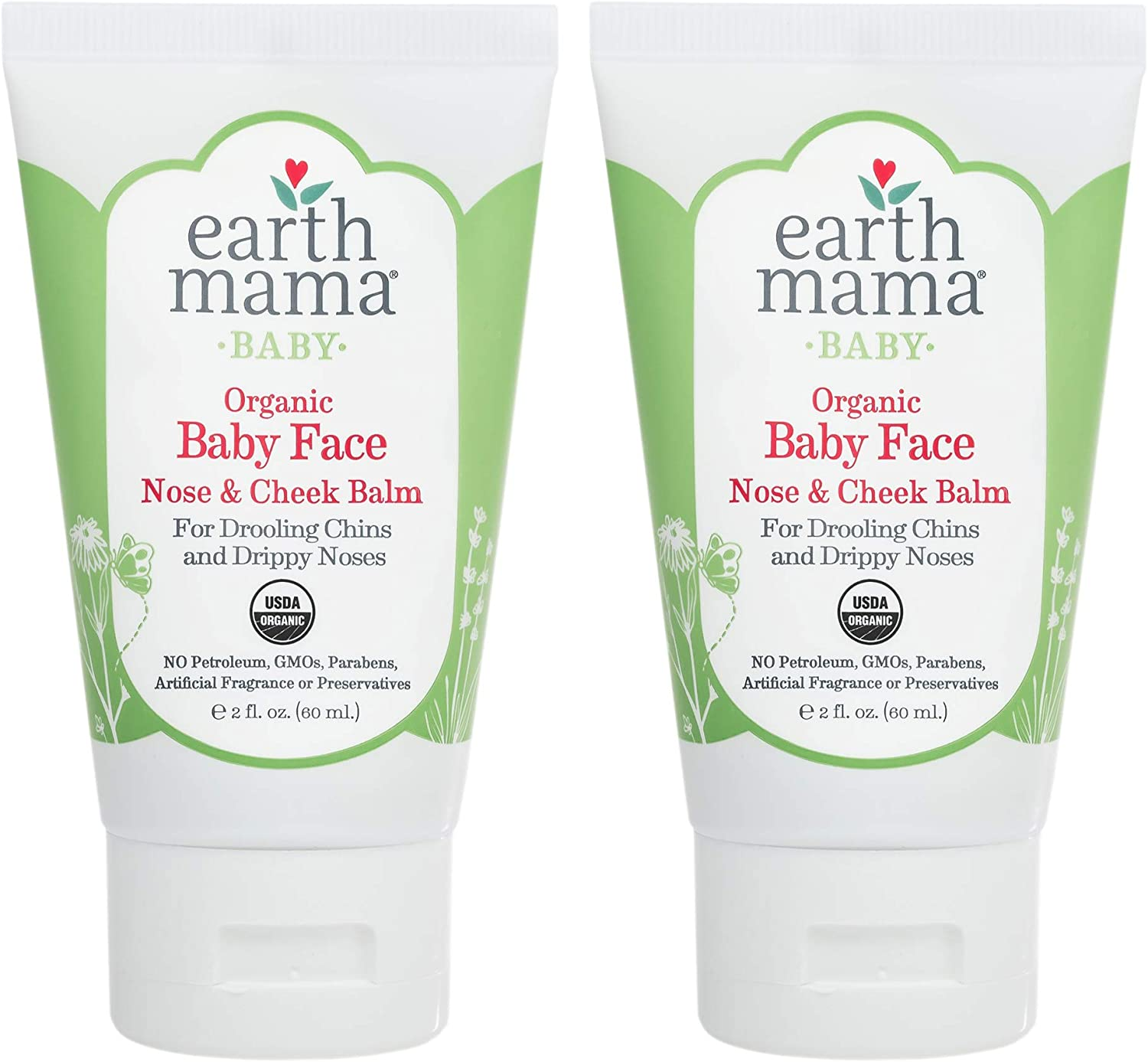 Organic Baby Face Nose & Cheek Balm for Dry Skin by Earth Mama | Natural Petroleum Jelly Alternative, 2-Fluid Ounce: Health & Personal Care