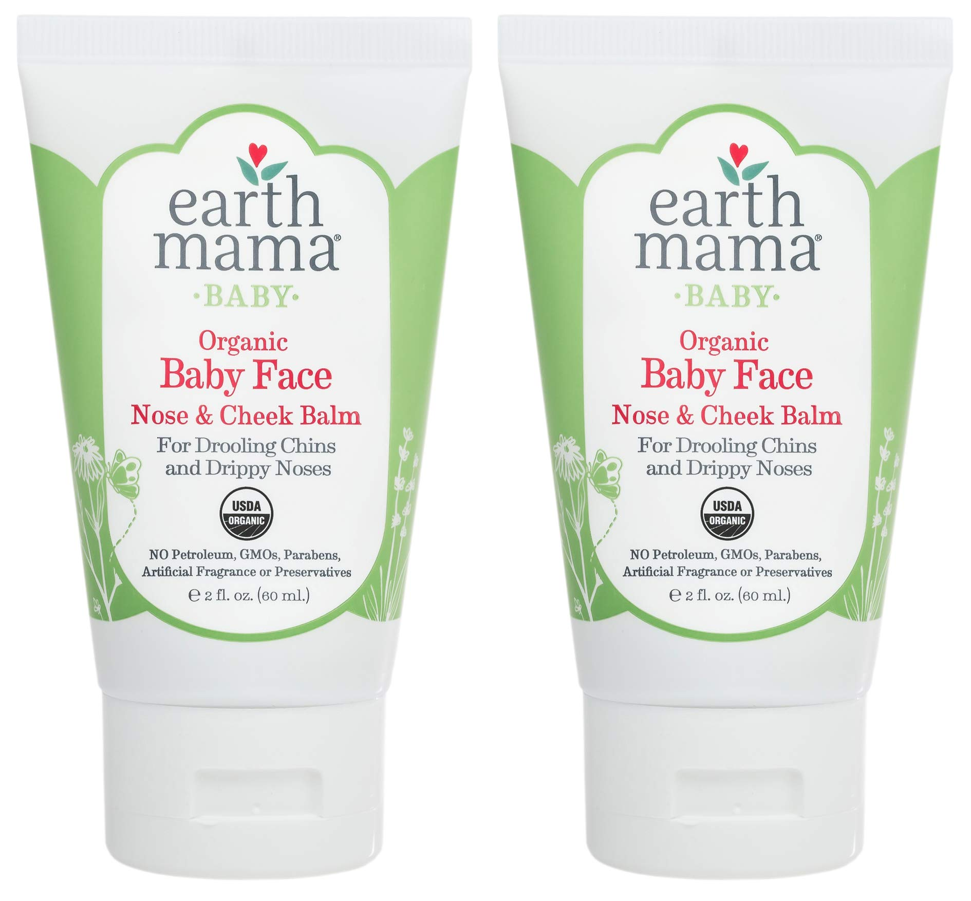 Baby Face Organic Nose & Cheek Balm for Dry Skin by Earth Mama   Safe Petroleum Jelly Alternative, 2-Fluid Ounce (2-Pack) by Earth Mama