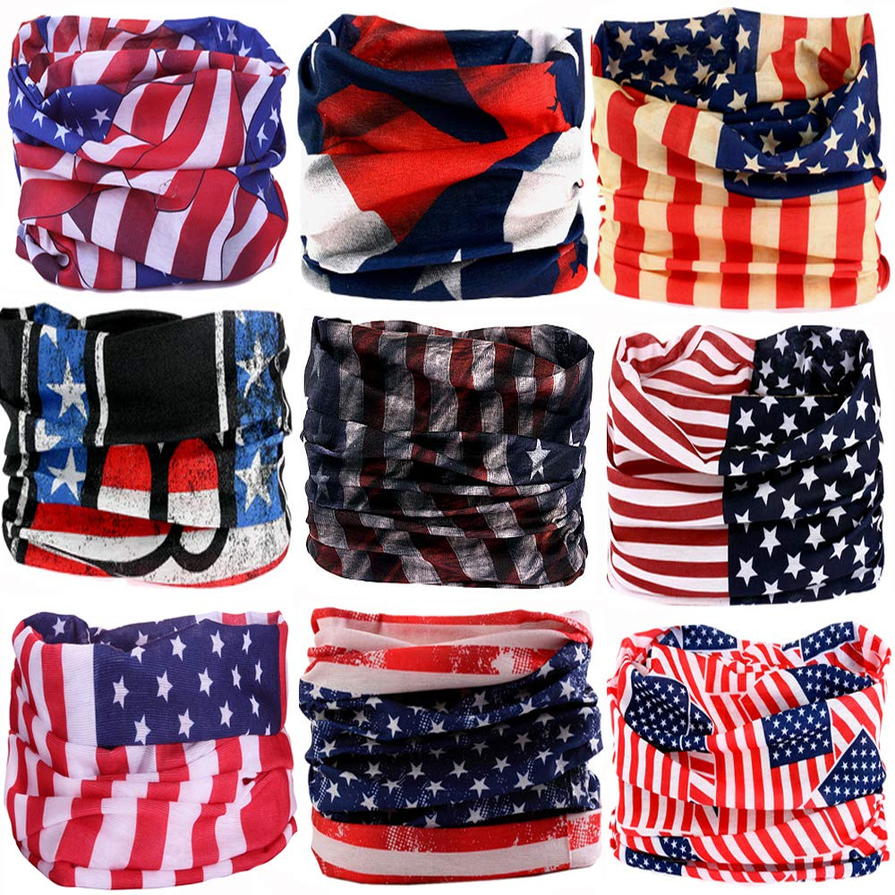 KALILY 9PCS Headband Bandana - Versatile American Flag Sports Headwear –Multifunctional Seamless Neck Gaiter, Headwrap, Balaclava, Helmet Liner, Face Mask for Camping, Running, Cycling