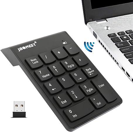 jbonest Teclado numérico inalámbrico 18 Teclas Numpad con 2,4 G Mini Teclado numérico USB Receptor para Ordenador portátil Notebook PC de Escritorio