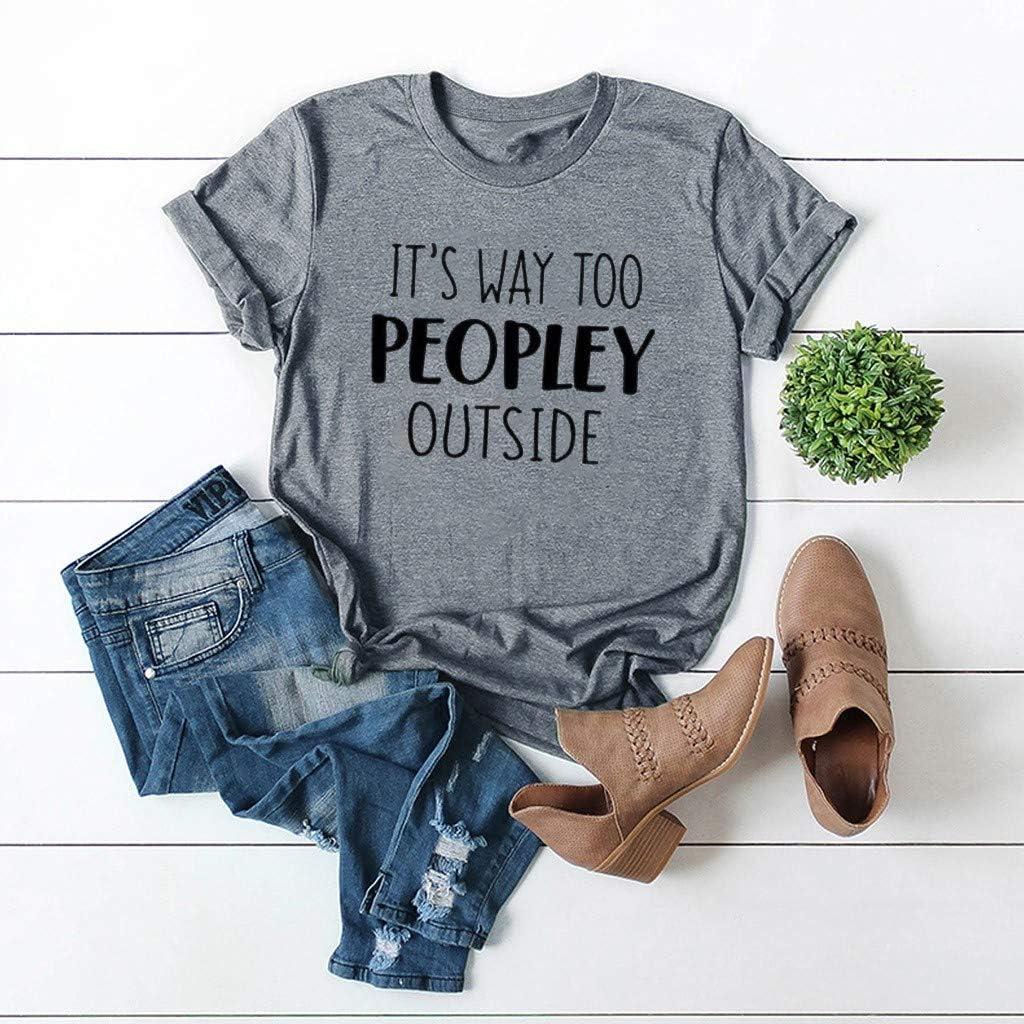 haoricu Womens Letter Print T-Shirt Summer Cute Short Sleeve Graphic Tees Funny Tops Soft Loose T Shirt Top