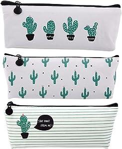 August Dream Canvas Pencil Case Box Pen Pouch Coin Purse Pouches Cosmetic Makeup Bag Cactus Pastoral Bandage Set of 3