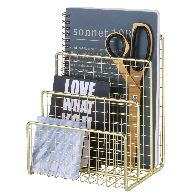 "West Beauty 3 Slots Letter Holder, Metal Multifunctional File Holder for Mails, Books, Brochures and Postcards, Desktop Office Organizer Decoration, Size 5.6"" x 3.7"" x 7.0"", Gold"