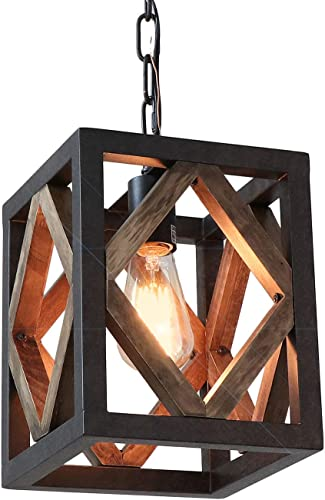 Eumyviv 1 Light Metal Frame Wood Farmhouse Kitchen Pendant Light, 7.8 L Industrial Rustic Chandelier Lamp Vintage Edison Ceiling Island Lighting Fixture, Brown Black P0050