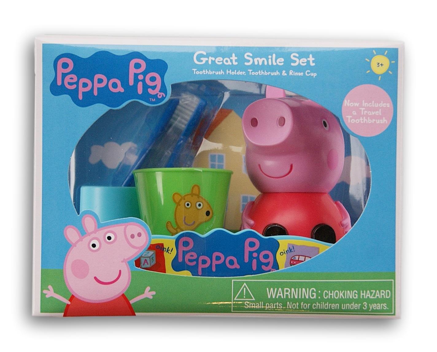Peppa Pig - gran sonrisa - Juego de soporte para cepillos de dientes, cepillo de dientes & Enjuague Taza: Amazon.es: Hogar