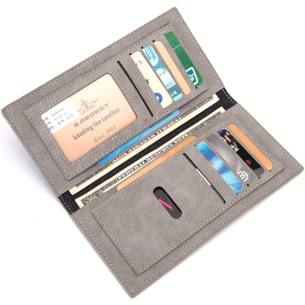 Color : Gray, Size : S MUMUWU Mens Long Wallet Wallet Card Bag Fashion Business Bag ID Card Wallet