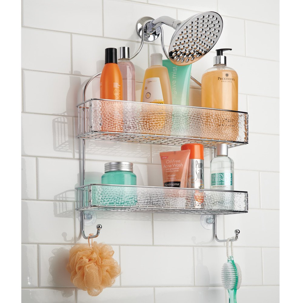 InterDesign Rain Hanging Shower Caddy – Wide Bathroom Storage Shelves for Shampoo, Conditioner and Soap, Clear/Chrome by InterDesign (Image #4)