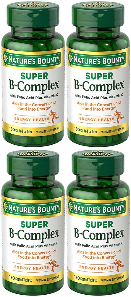 B-Complex with pbpTgv Folic Acid Plus C, 150 Tablets (4 Bottles)