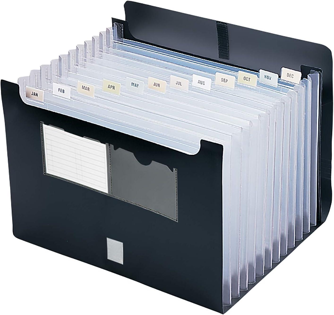 Smead Poly Desktop Expanding File, 12 Pockets, Flap and Cord Closure, Letter Size, Black (70845)
