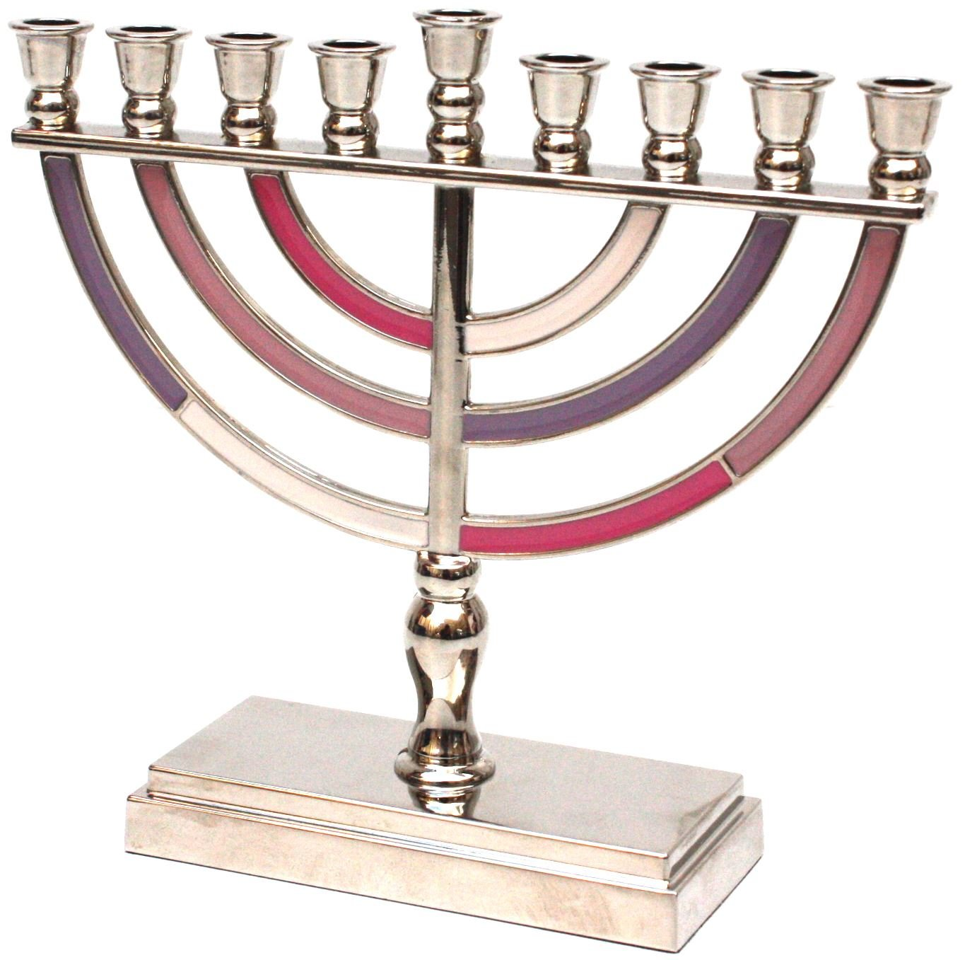 Hanukkah Menorah with 9 Branches, Grey, Black and White, 14 centimetres Meir Cohen Ltd