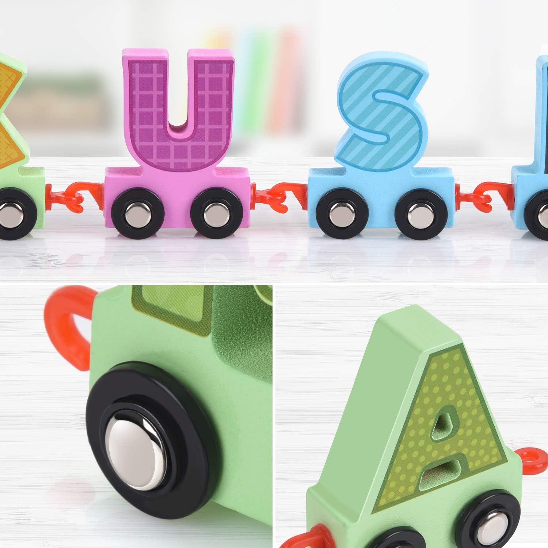 27pcs Letter Train Wooden Alphabet Railway Train,ABC Floor Puzzles,Wood Set For