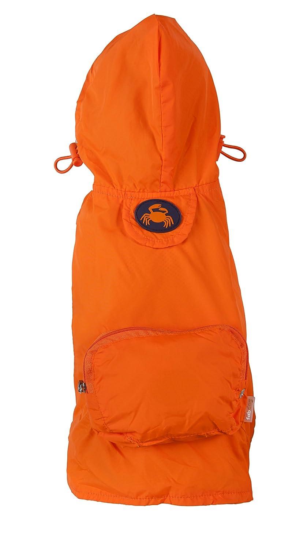 Fab Dog Crab Pocket Travel Dog Raincoat-Rain Jacket for Dogs, orange, XX-Large