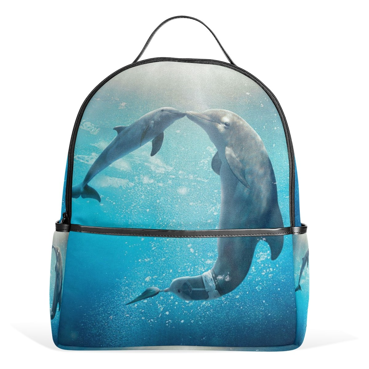 Sunlome Kiss Dolphin Tale Pattern Laptop Backpack Casual Shoulder Daypack for Student School Bag Handbag - Lightweight on sale