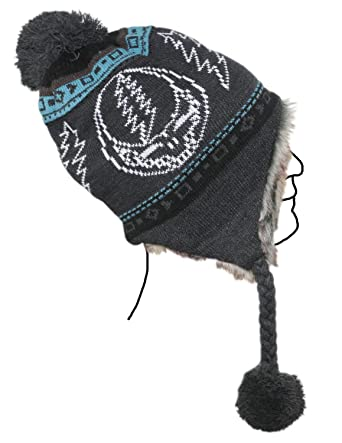 1f93a54cb2978 Amazon.com  Grateful Dead Knit Ski Hat With Ear Flaps Faux Fur Lining and  Pom Pom Steal Your Face Charcoal Grey  Clothing