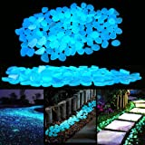 PROLOVE Glow in the Dark Garden Pebbles Stones for Yard and Walkways Decor, DIY Decorative Luminous Stones in Blue (200 PCS)