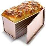 KITESSENSU Pullman Loaf Pan with Lid, 1 lb Dough Capacity Non-Stick Bakeware for Baking Bread, Carbon Steel Corrugated Bread