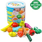 Cutting Food Wooden Play Food Set Educational Toy Pretend Food with Knife Fruit Vegetable Fish and Cutting Board