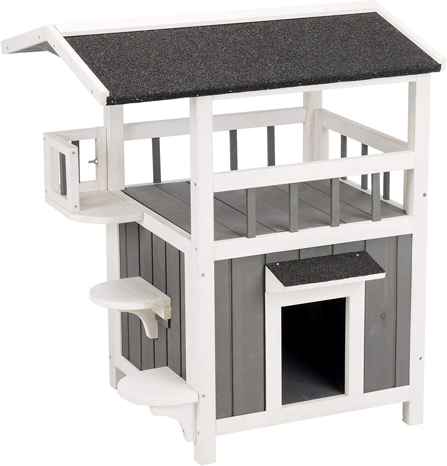 Trixie Pet Products 44116 Natura Wooden Pet Home With Shade 64 5 X 55 8 X Gray Pet Supplies