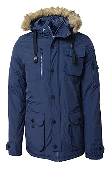 9acfb98b9 Smith and Jones Mens Baroquee Detachable Faux Fur Hood Parka Jacket Blue