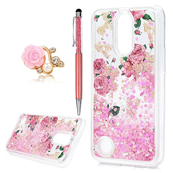 buy popular 183ea d6332 LG K10 Case 2017, LG K20 Plus Case, LG K20 V Case Liquid Glitter Sparkle  Girl Women Luxury Fashion Bling Flowing Liquid Floating Quicksand Cute  Clear ...