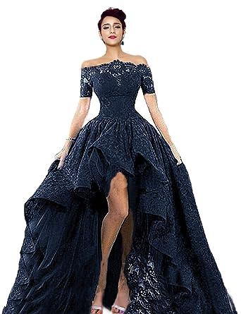 f9ad00a38853f Diandiai Women's Hi-Lo Prom Dress Short Sleeve Lace Navy Blue Evening Dress  Black Off