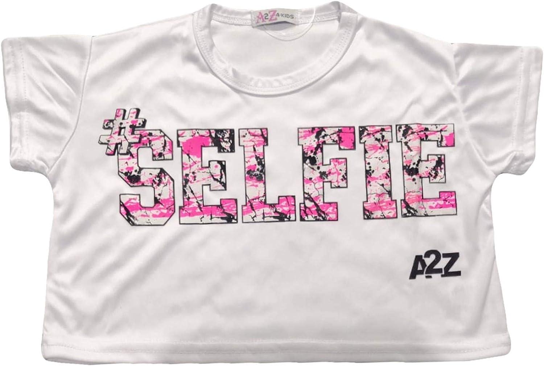 A2Z 4 Kids Kids Girls Crop Top Designers #Selfie Trendy Floss Fashion Belly Shirt Trendy T Shirt Tops Tees New Age 5 6 7 8 9 10 11 12 13 Years