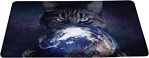 wizardry1986 Angry Cat in Space Catches The Earth Funny Doormat Creative Floor Mat with Non-Slip Backing Galaxy Background Bath Mat Rug Excellent Home Décor 16 × 24 inches